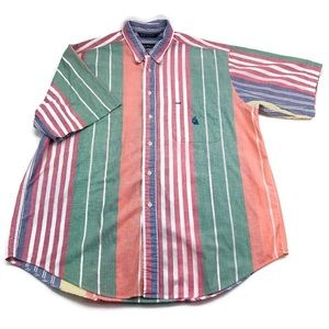 Vtg Nautica Multicolor 90s Vertical Striped Shirt